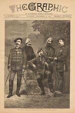 The Civil War In Spain - Don Carlos & His Staff, Vintage 1874 Antique Art Print