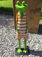 Frosch HEIDI orange Metall Handarbeit Garten Deko Figur Skulptur Gartendeko 47cm