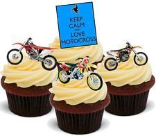 12 Novedad Vainilla Stand Ups Keep Calm Motocross Mix Comestibles De Oblea Cake Topper