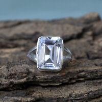 Octagon Rock Crystal Stone 925 Sterling Silver Artisan Handmade Fine Gift Ring