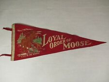 """Call of the Loyal Order of Moose Vintage Red Felt Pennant Large 29"""" Graphic"""