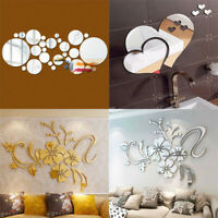 3D Hearts Mirror Wall Stickers Decal DIY Art Mural Removable Home Room Decors
