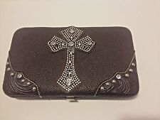 Country Road jeweled cross wallet  rhinestone brown leather snap western