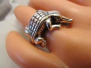 Barry Kieselstein Cord Diamond Eye Alligator Sterling Silver Ring Size 6.5