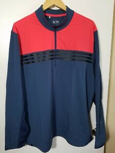 1 NWT ADIDAS CLIMACOOL MEN'S PULLOVER, SIZE: X-LARGE, COLOR: NAVY/ORANGE (J160)