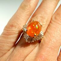 PRECIOUS Mexican Orange Fire Opal Diamond Ring 14K Gold Ballerina Engagement