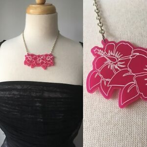 Brand New - Artisan Pink Acrylic Flower Statement Necklace