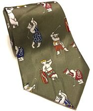 Coca Cola Polar Bears Golfing Tie Soft Drink Soda Golf Greens Animals Coke White