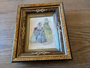 Antique Victorian Deep Picture Frame with Colorized French Fashion Print