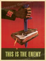 """""""This is the Enemy"""" WWII Stabbed Bible 1943 War Poster - 18x24"""