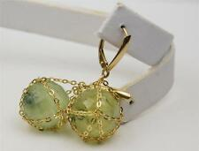 14K YELLOW GOLD PREHNITE GEMSTONE LEVER BACK EARRINGS
