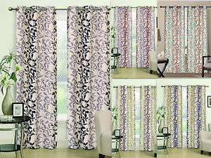"""2 Pc Heavy Linen Leaf Embroidered Grommet Curtain Panels Window Drapes 84"""" Long!"""