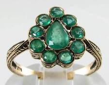 9CT 9K GOLD COLOMBIAN EMERALD CLUSTER ART DECO INS PEAR FACE RING FREE RESIZE