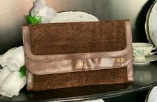 VINTAGE PERUZZI BROWN  FLORAL EMBOSSED SUEDE & LEATHER CLUTCH PURSE HANDBAG L