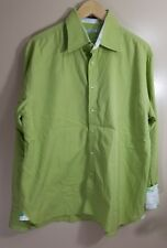 Ryan Kenny Long Sleeve Button Front Shirt Green Size 17.5 - 44 Flip Cuff Italy