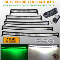 Led Curved Light Bar Combo Remote Strobe & Harness For Off road Driving Hunting