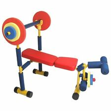 Weight Bench Press Set Fitness Gym Exercise Equipment Lifting Strength Home Kids
