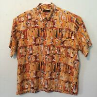 Natural Issue Men's XL Martini Hawaiian Camp Shirt Cigars Retro Bartender Club