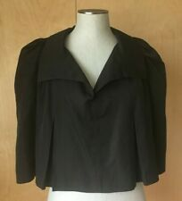 Yves Saint Laurent black cotton silk blend pullover capelet top one size EUC!