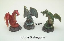 lot de trois dragons, dragon couleur, 6 cm  figurine  lot 1 *G33