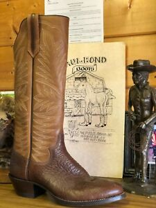 Tall! PAUL BOND BOOTS Size 12 D Men Custom Cowboy Boots TALL HEEL TALL COWBOY