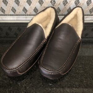 Men's UGG Brown Leather Ascot Slippers- size 12- #5379