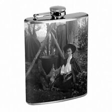 Vintage Witchcraft Witch D2 Flask 8oz Stainless Steel Hip Drinking Whiskey B&W