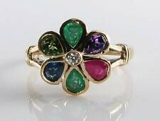 CLASS 9CT 9K GOLD DEAREST FLOWER DAISY ART DECO INS RING FREE RESIZE