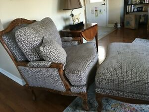 Ethan Allen Versailles Chair Ottoman Custom Contemporary French Hardwood