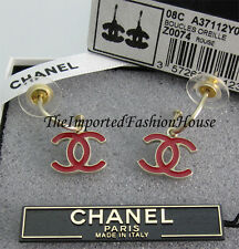 AUTHENTIC CHANEL CLASSIC RED ENAMEL CC LOGO CHARM GOLD DANGLING EARRINGS NEW