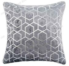 Silver & Grey Sparkle Metallic Foil Velvet Geometric 18 inch Cushion Cover