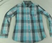 Ocean Current Blue Plaid Button Long Sleeve Dress/Casual Men's Shirt Medium K54