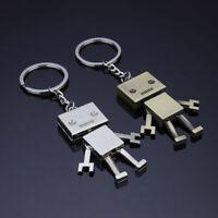 2pcs Metal Keychains Keyrings Charms Figure Pendant for Women Men Gift Boyfriend