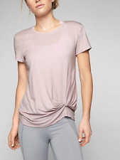 33733e9c09 NEW ATHLETA WOMEN S SOFT LILAC SHORT SLEEVE ULTIMATE SIDE KNOT TEE TOP ...
