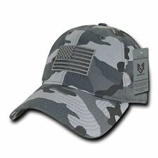 Urban Camo US American Flag United States America Polo Tonal Baseball Hat Cap