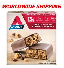 Atkins Chocolate Chip Cookie Dough Protein Rich Meal Bar 10.6 Oz 5 Ct WORLD SHIP