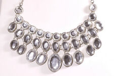 """Sparkly Mirrored Flashy Bib Silver Adjustable 17"""" to 20"""" Necklace"""
