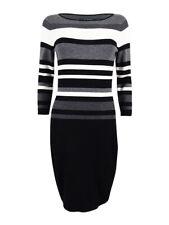Lauren Ralph Lauren Women's Striped Stretch Dress (PXL, Black/Grey/Light White)