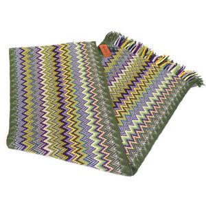"Missoni Italy 100% Wool Chevron Knit Fringed Scarf, 12"" x 66"", Needs Repair"