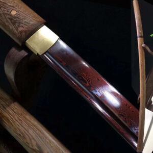 Red Damascus Folded Steel Japanese Samurai Sword Rose wood Shirasaya Katana