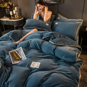 Flannel Bedding Set Duvet Cover Linen Fleece Velvet Warm Soft Bedclothes Solid @