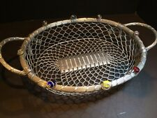 Dary Rees original large metal jeweled basket, silver color, hand crafted