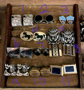 Vintage Collection of Cuff Links, Tie Clips, and Pins