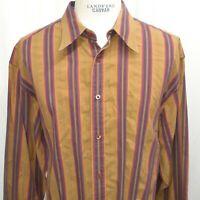 Robert Graham Mens Long sleeve stripe 3XL XXXL Cotton brown purple contrast cuff