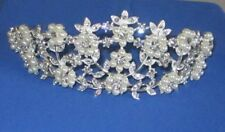 MAJESTIC LARGE TIARA IN CLEAR CRYSTALS & FAUX PEARLS