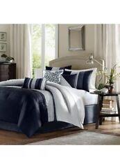 New Queen Size Amherst 7 Piece Comforter Set Blue Modern Madison Park Mp10-2207