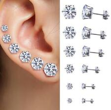 Stud Earrings CZ Women Silver Fashion Jewelry Crystal Rhinestone Post Ear *6Pair