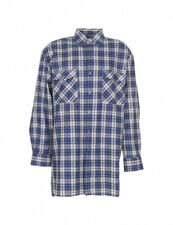 "PLANAM blue work long sleeve tartan check flannel cotton shirt top 48""-50"" chest"