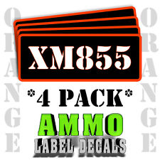 """XM855 Ammo Label Decals for Ammunition Case 3"""" x 1"""" Can stickers 4 PACK -OR"""