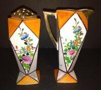 Vintage Art Deco Lusterware Creamer & Muffineer Sugar Shaker Set Made in Japan